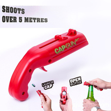 Creative Can Openers Spring Cap Catapult Launcher Gun Shape Bar Tool Drink Opening Shooter Beer Bottle Opener 2 pack cap launcher shooter bottle opener plastic beer openers for home bar party drinking game shoots over 5 meters red and