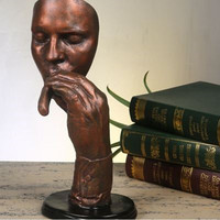 Retro Smoking Cigar Man Statue Abstractive Figure Sculpture Resin Craftwork Home Interior Design L3209