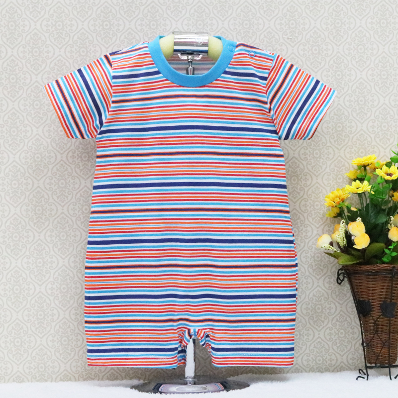 2019 Little Q Spring And Summer Baby Prue Cotton One Pieces Striped Bodysuits Short Sleeve Newborn Clothes