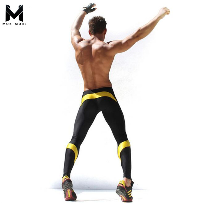 Mens Allenamento Fitness Compressione Leggings Pantaloni Inferiore Uomini MMA Crossfit Sollevamento Pesi Bodybuilding Calzamaglia Pelle Pantaloni M-XXL
