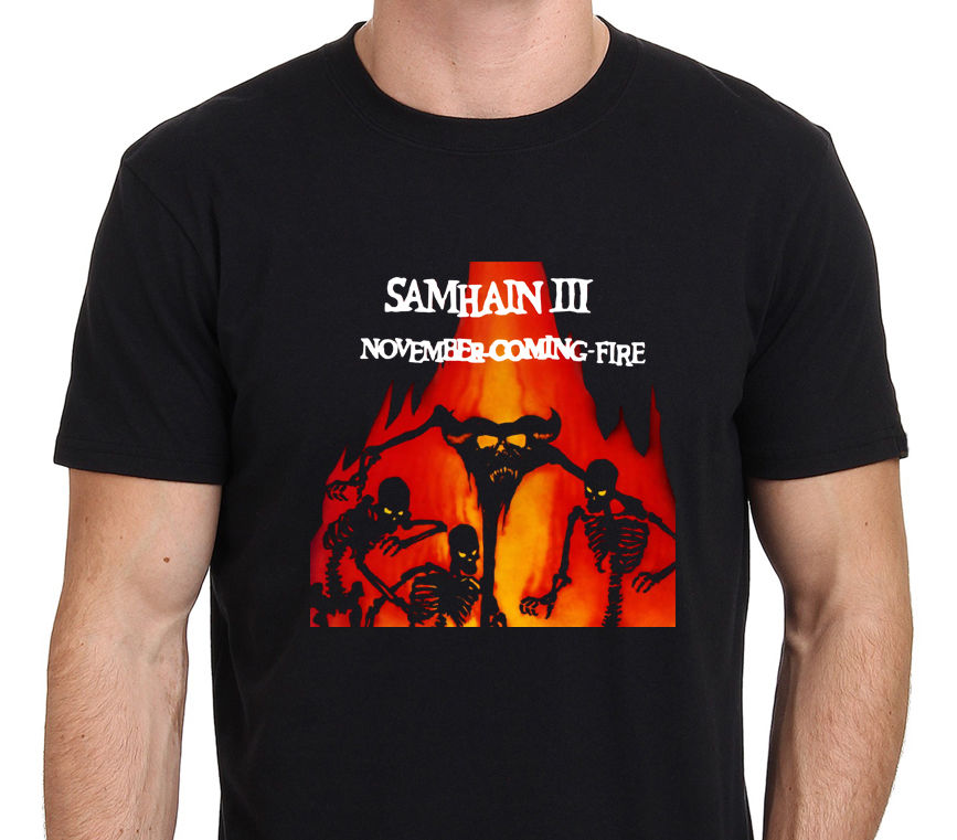 Samhain III November Coming Fire Rock Band Men 39 s Black T Shirt Size S To 3XL Summer Short Sleeves New Fashion T Shirt in T Shirts from Men 39 s Clothing