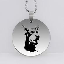 PAW PRINT 316L Stainless Steel Doberman Dog Pendant Necklace Print Animal Pet Dog Jewelry