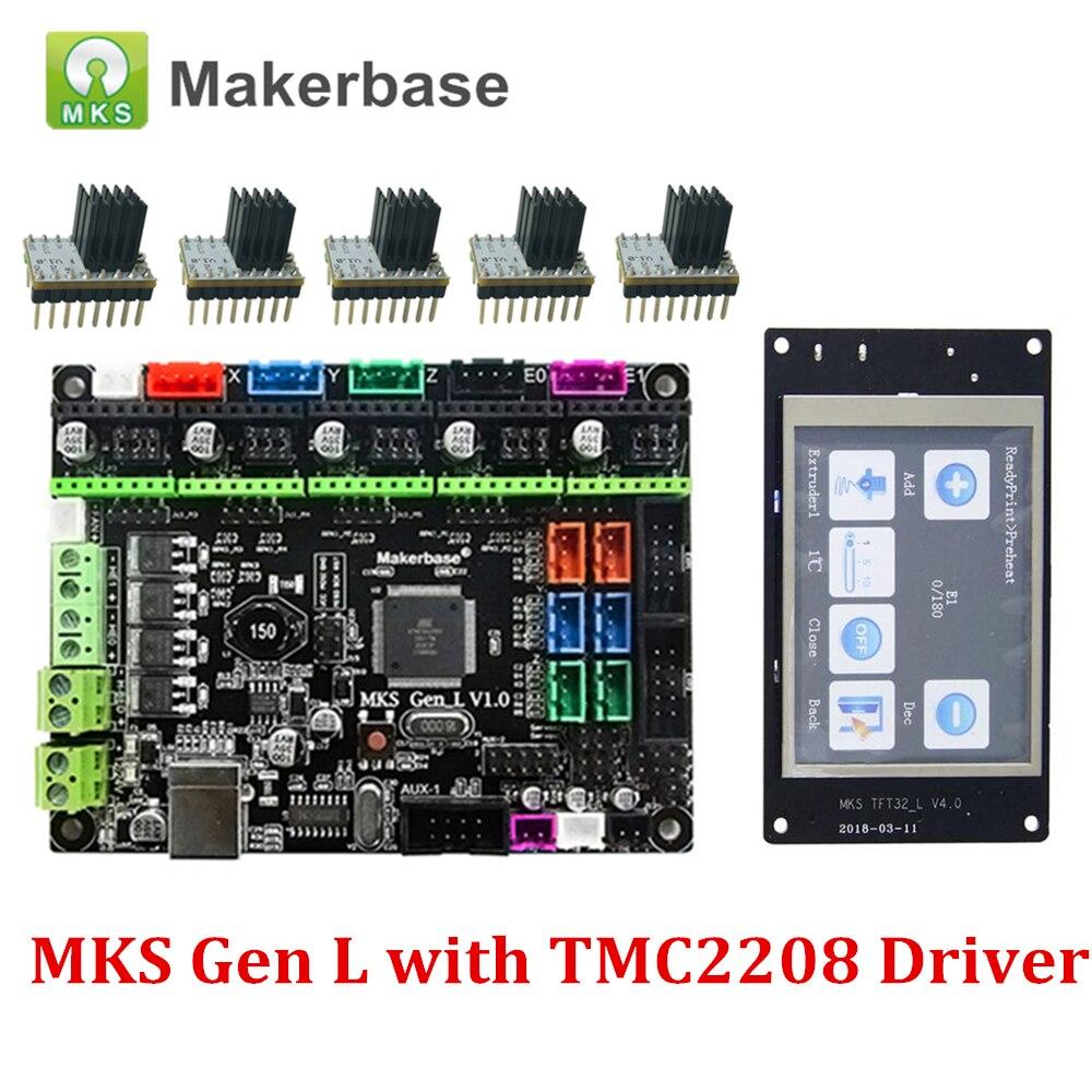 3D Printer Control Board MKS Gen L V1.0 and MKS TFT32 5PCS TMC2208 Driver with Heatsink Compatible for Ramps1.4/Mega2560 R33D Printer Control Board MKS Gen L V1.0 and MKS TFT32 5PCS TMC2208 Driver with Heatsink Compatible for Ramps1.4/Mega2560 R3