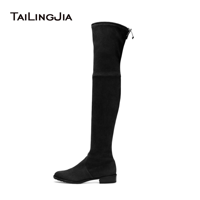 f7d75179cc 2017 Women's Black Flat Stretch Boots Ladies Low Heel Round Toe Slip On  Brown Faux Suede Over the Knee High Fall Autumn Shoes