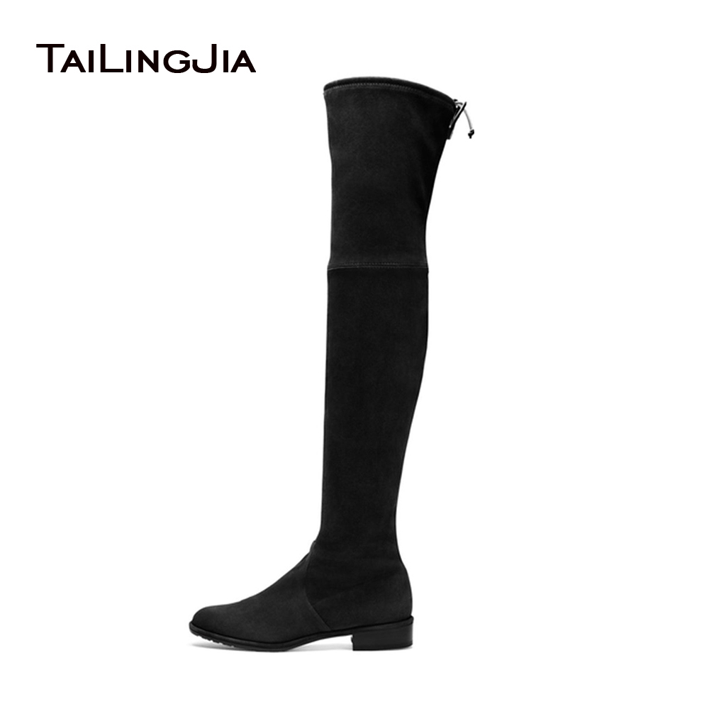 2017 Womens Black Flat Stretch Boots Ladies Low Heel Round Toe Slip On Brown Faux Suede Over the Knee High Fall Autumn Shoes