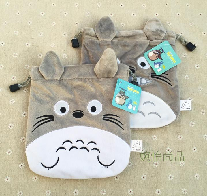 IVYYE 1PCS Grey Totoro Cartoon Drawstring Bags Cute Plush storage handbags makeup bag Coin Bundle Pocket