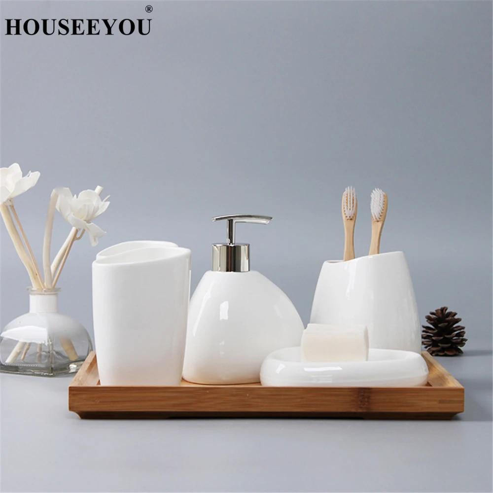 White Ceramic Bathroom Accessories Set Liquid Soap Dispenser Toothbrush Holder Tumbler Soap Dish Bamboo Tray Bathroom Products Bathroom Accessories Sets Aliexpress