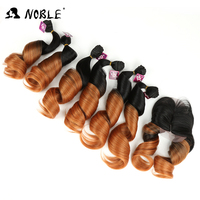 Noble Hair Synthetic Loose Wave Hair 18 22 Inch 7 Pcs Pack 6 Bundles Lace Closure