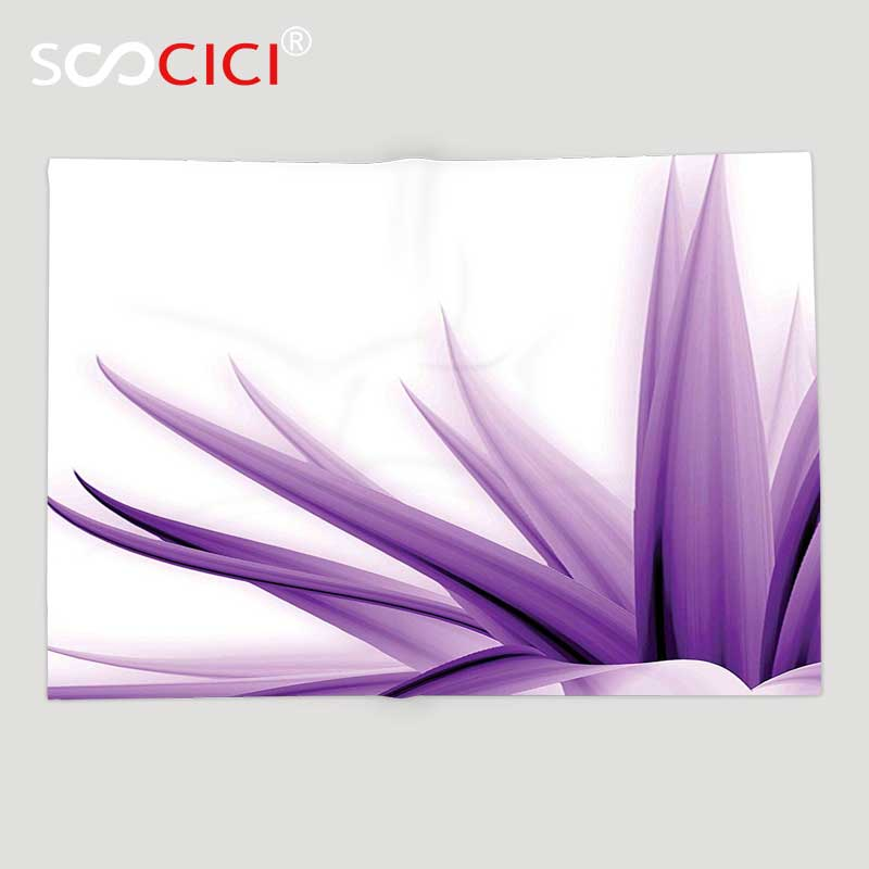 Custom Soft Fleece Throw Blanket Flower Decor Purple Ombre Long Leaves Water Colored Print with Calming Details Image Purple