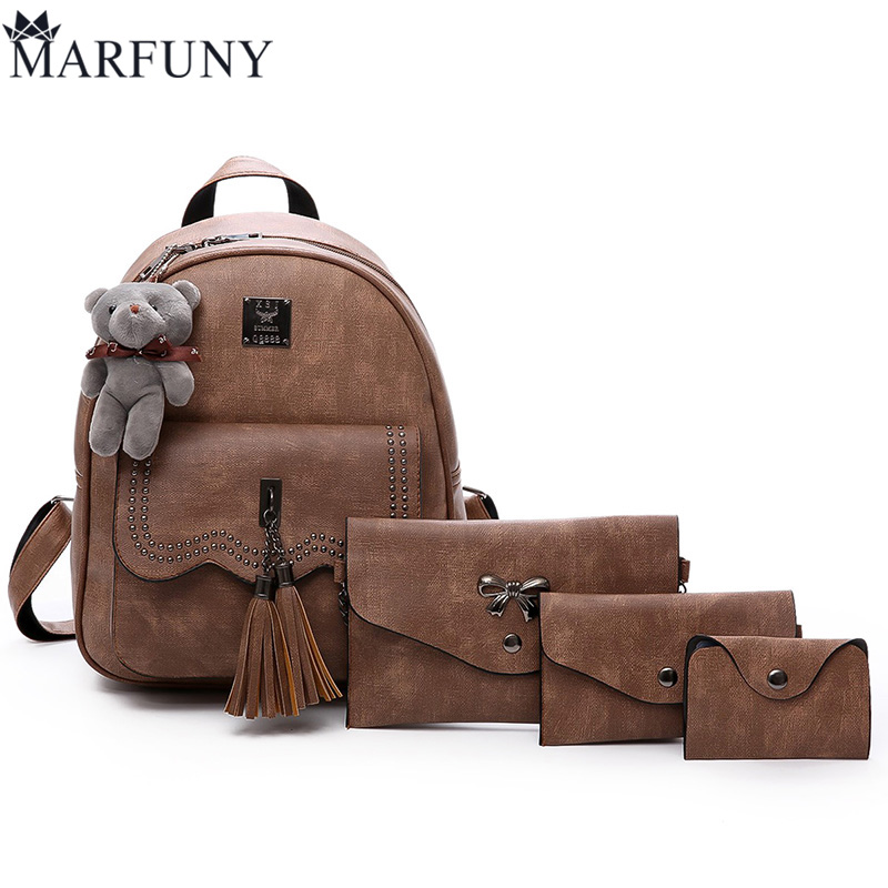 Vintage 4 Pcs/Set Women Backpack Female Tassel School Bags Backpacks for Teenage Girls Shoulder Bag Fashion PU Leather Backpack simple preppy style backpack women pu leather backpacks for teenage girls school bags fashion vintage solid shoulder bag black