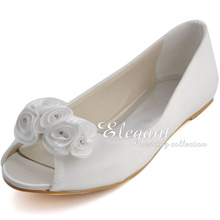 2015 New Arrival Peep Toe Women's Satin Shoes Wedding shoes Comfortable Flat Shoes Flower Deco Party Prom Flats