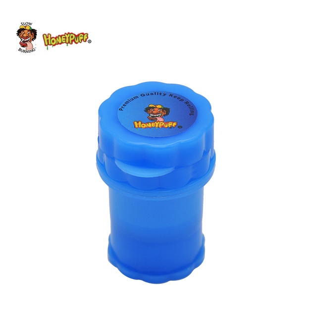 HONEYPUFF Plastic Tobacco Herb Grinder 40MM 4 Layer Herb Spice Grinder With Sharp Shark Teeth Plus Big Storage Container Crusher