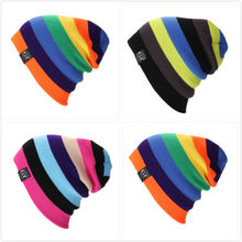 Winter Jamaica Style Rainbow Knitting Unisex Beanies Caps for Women Outdoor Keep Warm Snowy Street Hats Men Ponytail Beanie W49(China)
