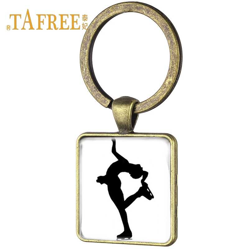 TAFREE Simple Ice Skating Skateboarding Square KeyChain Figure Skating Picture Antique Bronze Plated Women Key Ring Jewelry ST05