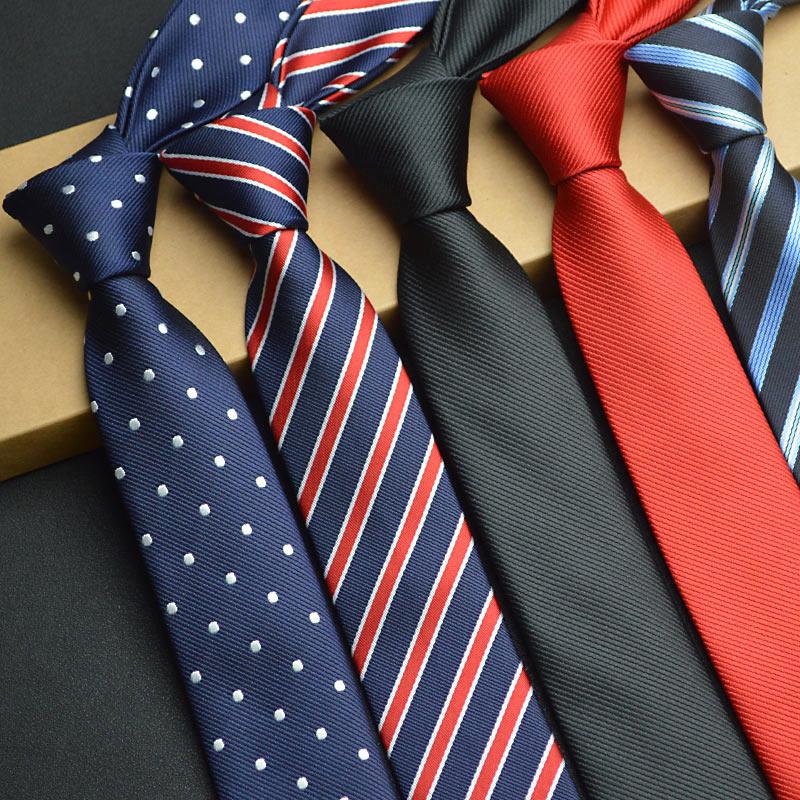1Piece Korean British Style 5cm Neck Tie Slim Narrow Casual Dot Striped Party Club Salon Pub For Men Women Groom Waiter Waitress