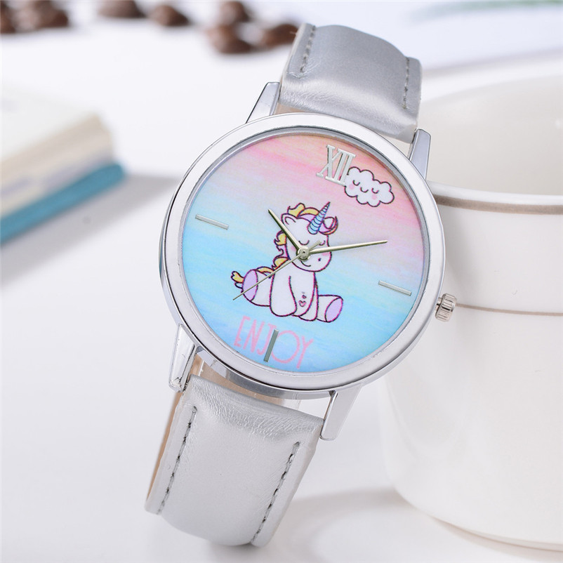 Relogio Feminino 2018 Brand Cute Unicorn Animal Watches Kids Girls Leather Band Analog Alloy Quartz Watch Watch Women Clock