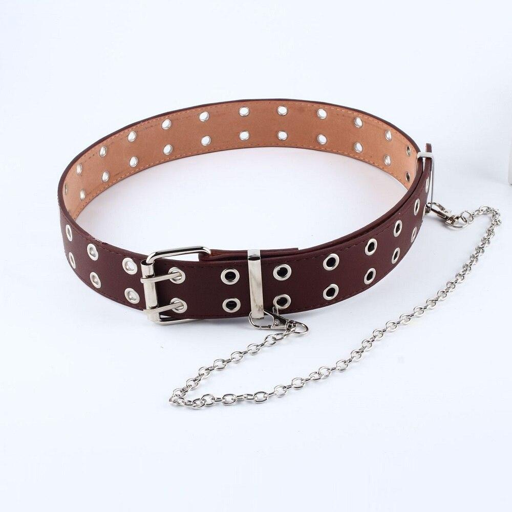 Punk Waist Chain Belt Adjustable Double Eyelet Grommet Leather Buckle Detachable Waist Belts Chain Hip-hop Waistband Jeans