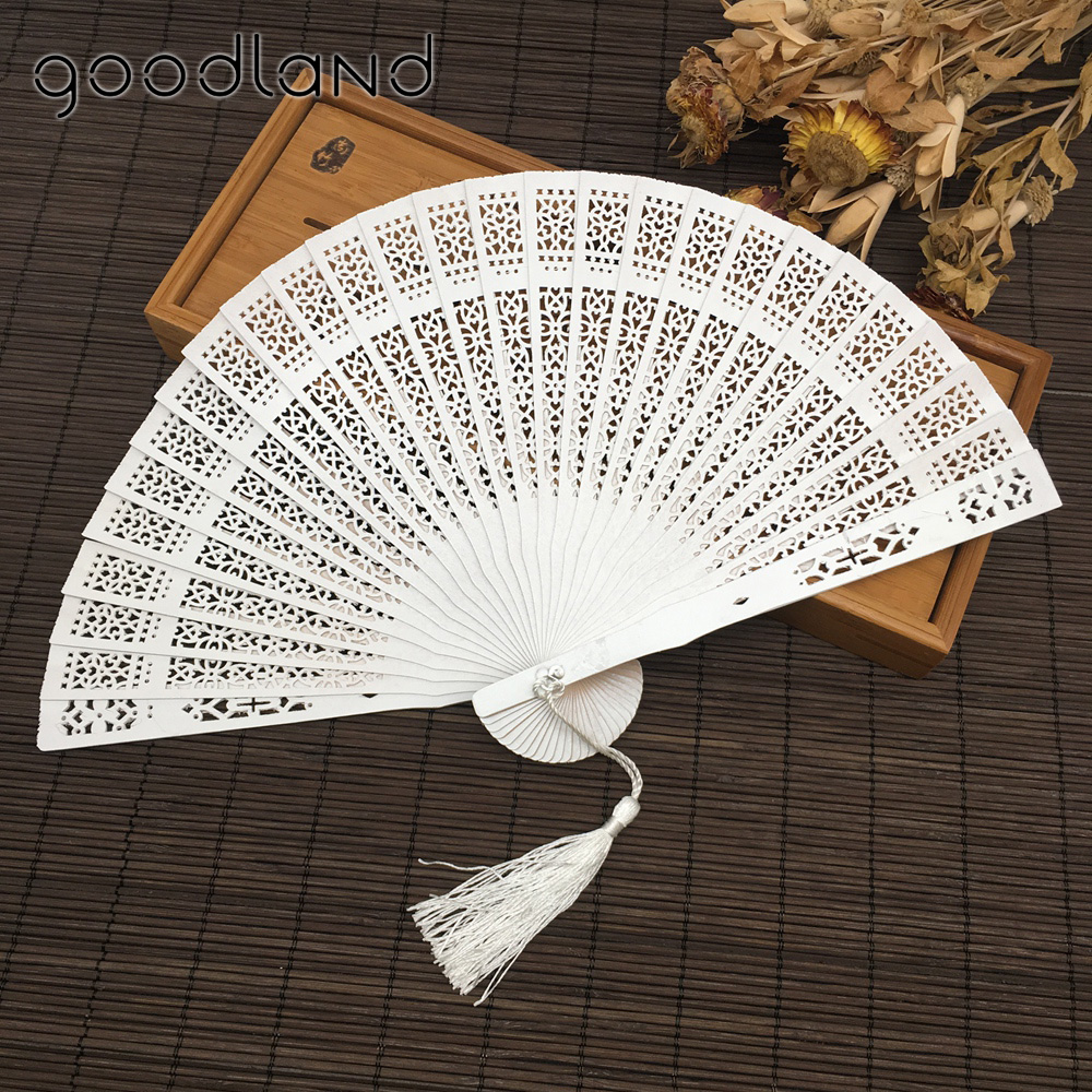 5Pcs Classic Wooden Asian Hand Fan w Random color Tassel Dance Party Decoration