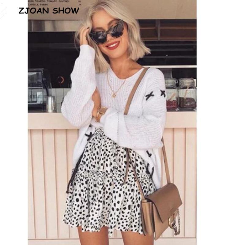 Bohemian Drawstring Elastic Waist Leopard Print Mini Skirt New Women 2018 Patchwork Ruffles Wood Ears Short Swing Beach Skirts