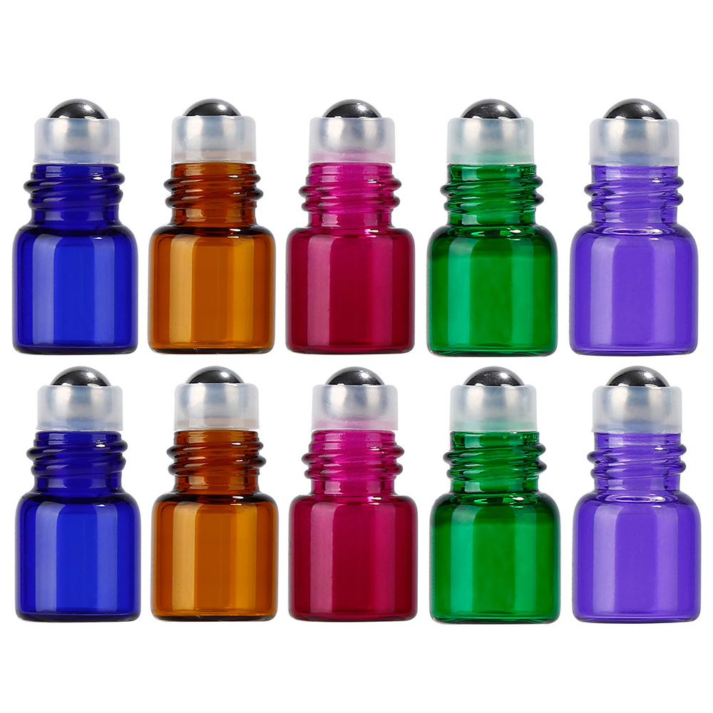 10X 1ml Mini Glass Essential Oil Bottles Roll On Vials with Roller Ball Black Cap Lid for Aromatherapy Perfume 24 x 15ml amber glass essential oil roll on bottles w stainless steel metal roller ball black cap lid for perfume aromatherapy