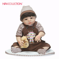 NPKCOLLECTION 46CM Baby Reborn Lifelike Full Body Silicone Reborn Doll for girls Realistic Baby Doll Toys For Birthday