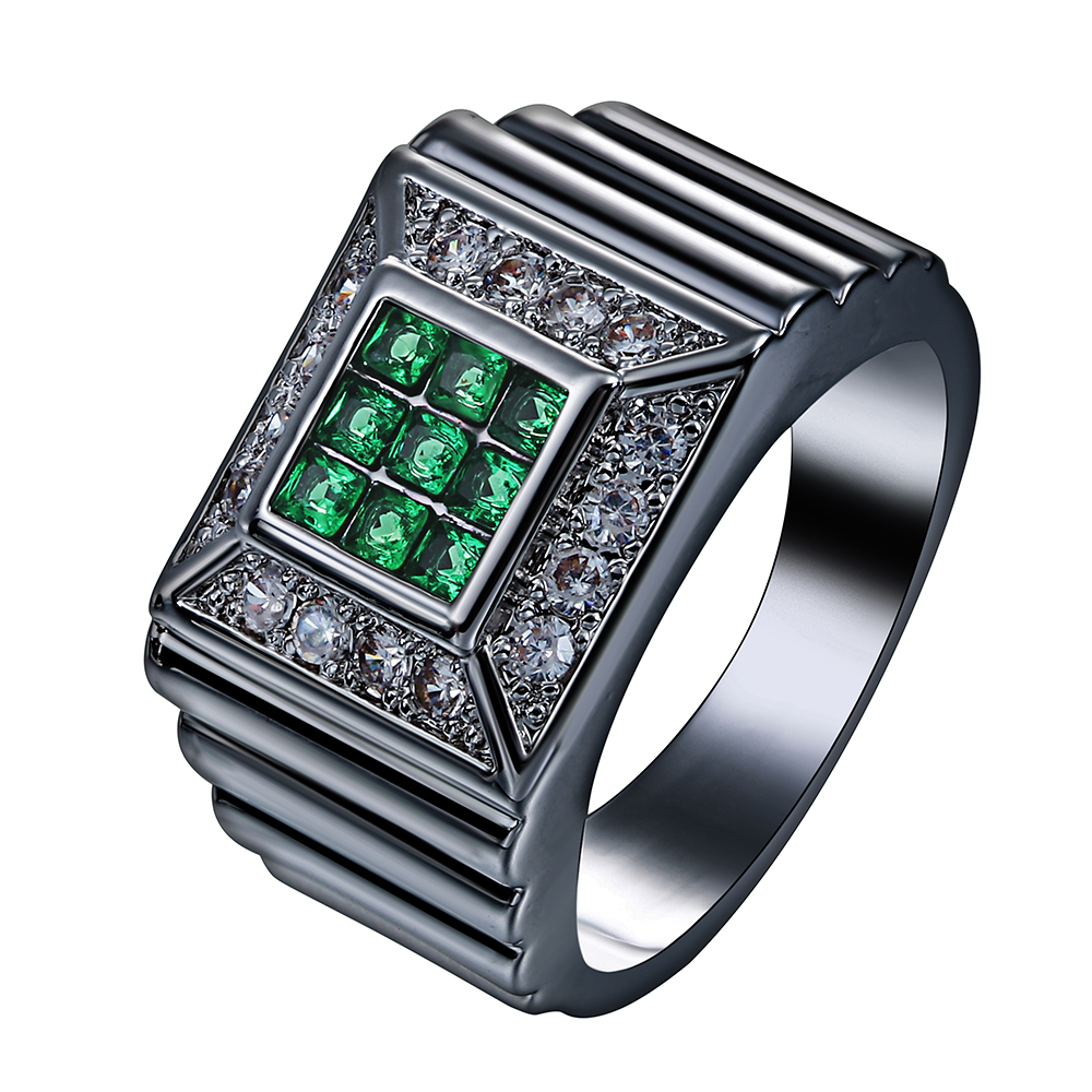 New design square blue green zircon black gold color  anniversary engagement romantic wedding rings for women