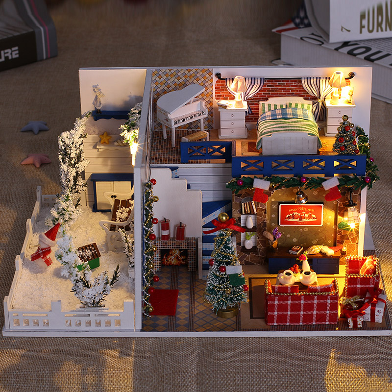 Minature maison de poupée bricolage maison de poupée jouets en bois modèle avec meubles Kits de construction jouets de cadeau de noël pour enfants K026 # E
