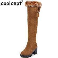 Coolcept Tamanho 34-43 Mulheres Quente Fur Dentro de Inverno Frio Botas Mulheres Grosso do Salto Alto Sobre O Joelho Botas de Neve feminina Botas Quentes