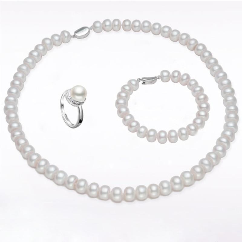 купить RUNZHUQIYUAN 2017 100% natural Freshwater Pearl jewelry sets 925 sterling silver jewelry 8-9 mm Pearl necklace for women по цене 3304.68 рублей