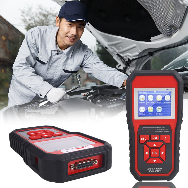 Vehemo OBD2 Car Autoscanner Automotive Scanner KW850 Multi-languages Auto Diagnostic Tool Scanner Car Repail Accessories newest obdmate om520 lcd obd2 eodb car diagnostic scanner obdii interface om520 obd 2 ii auto diagnostic tool scanner