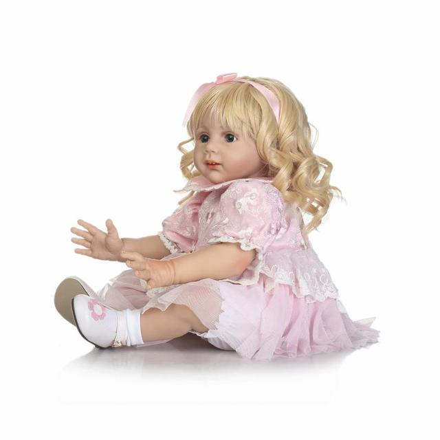 Real Silicone 60 cm Soft Girl Silicone Reborn Doll Toys 24'' Doll Reborn Lifelike born Toys bebe Juguetes Babies Toys Brinquedos