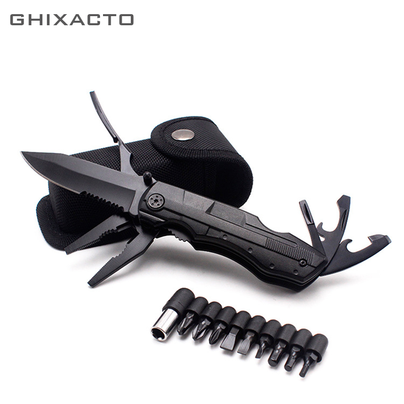 GHIXACTO Multifunction Swiss Folding Knife Plier Stainless Steel Army Knives Pocket Hunting Outdoor Camping Survival Knife ToolGHIXACTO Multifunction Swiss Folding Knife Plier Stainless Steel Army Knives Pocket Hunting Outdoor Camping Survival Knife Tool