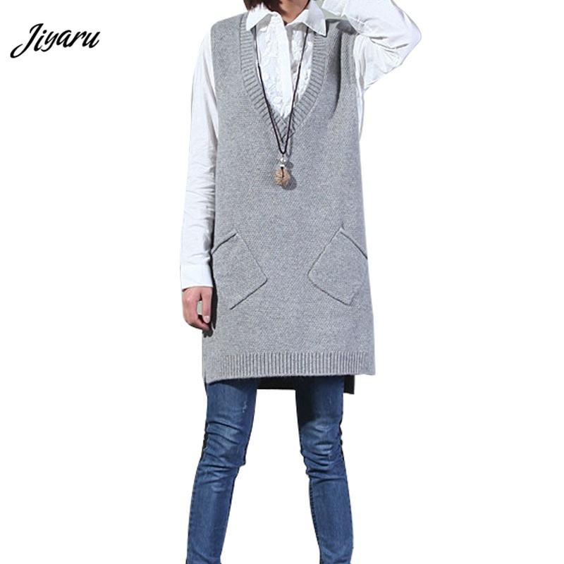 Sweater Vest for Women Girls Spring Autumn Ladies Deep V-neck Sweater Vests Solid Color Tops Female Casual Long Sweater Vest