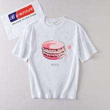 Macaroon ice cream Funny printed Tshirt Women Summer Harajuku White T-Shirt Short Sleeve Casual Tops Plus Size Female Tee kawaii