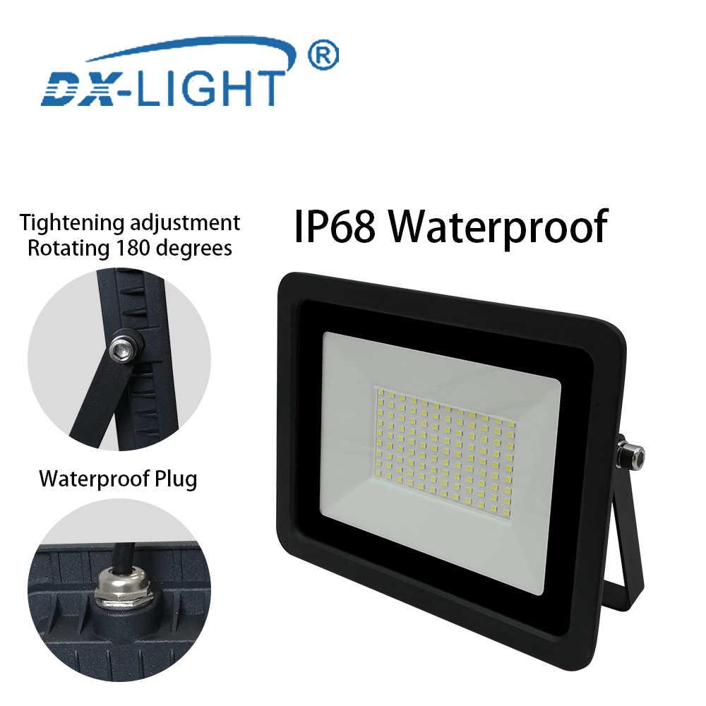 10W 20W 30W 50W 100W LED Luz de inundación 110 V/220 V Reflector IP68 impermeable al aire libre Reflector iluminación Parque cuadrado proyector