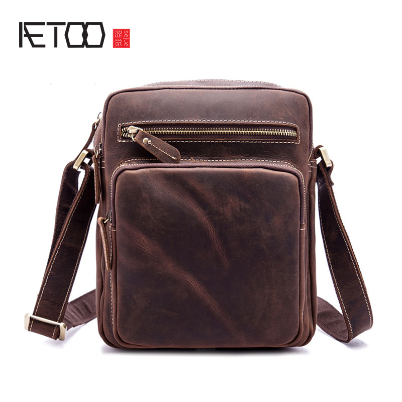 AETOO Simple first layer of mad horse leather men shoulder bag casual men bag shoulder Messenger bag boys bag men s leather oblique cross chest packs of the first layer of leather deer pattern men s shoulder bag korean fashion men s bag