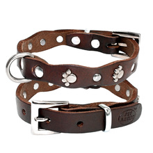 Collar Soft Adjustable Studded Pet Collars For Small Medium Dogs Pitbull Brown Color XXS XS S M
