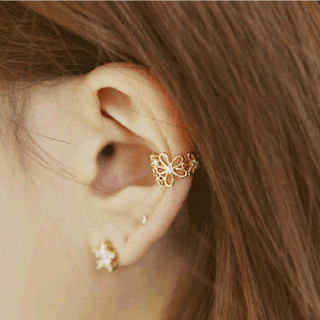 hollow out flower ear clip on earrings no pierced ear cuff women earrings fashion jewelry ear jacket wrap earcuff