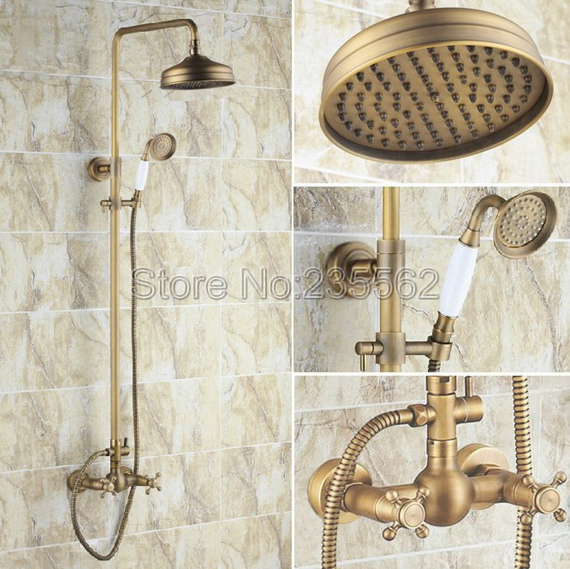 Luxury Bathroom 8 inch Waterfall Rainfall Shower Head Antique Brass Exposed Shower Faucet Set Wall Mounted lrs107