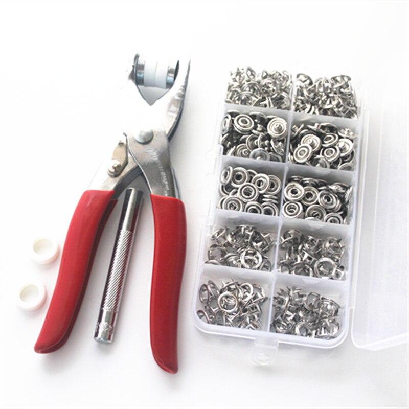 Alicates herramienta para el cuidado de la piel de metal de 9,5mm punta botones 100 sets abrazaderas de prensa remaches Poppers niños deslizadores hebilla + 1 caja