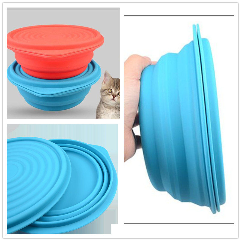 foldable pet bowls with cover silicone Bowl pet folding portable dog bowls dog drinking water feed food bowl E22