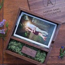 (Kostenlose logo oder wörter namen gravur) Holz Fotoalbum Box USB 3.0 Pendrive DIY Eingravierten Logo Hochzeit Speicher