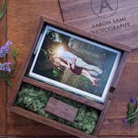 (Freies logo oder wörter namen gravur) Holz Foto Album Box USB 3,0 Stick DIY Gravierte Logo Hochzeit Speicher