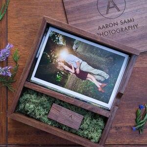 Image 1 - (Free logo or words names engraving) Wooden Photo Album Box USB 3.0 Pendrive DIY Engraved Logo Wedding Memory