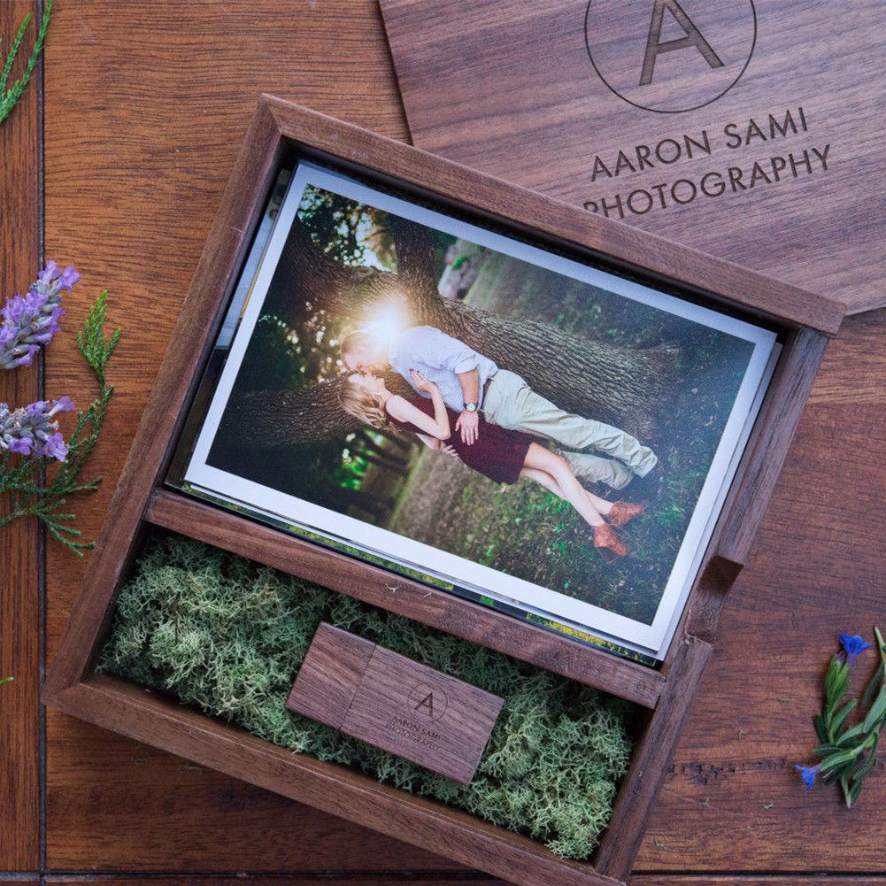 (شعار مجاني أو كلمات أسماء النقش) صندوق ألبوم صور خشبي USB 3.0 Pendrive لتقوم بها بنفسك محفورة شعار ذاكرة الزفاف
