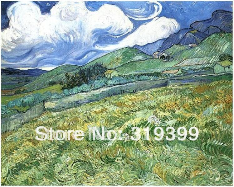 Oil Painting Reproduction on linen canvas,Mountainous Landscape Behind Saint Paul Hospital BY van gogh, 100% handmade,Oil Painting Reproduction on linen canvas,Mountainous Landscape Behind Saint Paul Hospital BY van gogh, 100% handmade,