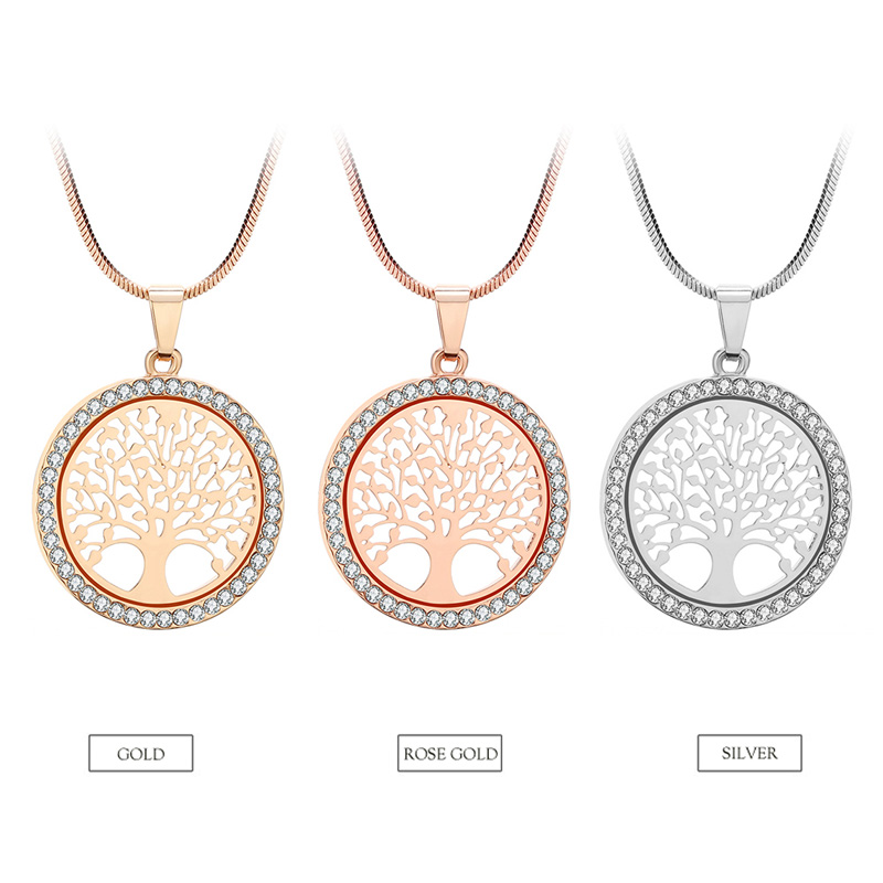 shop Hot Tree of Life Crystal Round Small Pendant Necklace Gold Silver Colors with crypto, pay with bitcoin