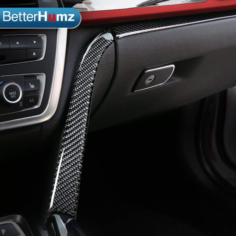Betterhumz Interior Central Control Panel Decoration Strips Carbon Fiber Car Stickers For BMW F30 F32 F34 2013-2018 Accessories