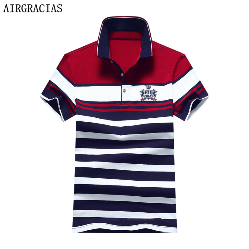 AIRGRACIAS 2017 New Fashion Summer Mens   Polo   Shirt Casual Striped   Polo   Shirt Men Cotton Shirt For Youth Male Ralphmen 1734