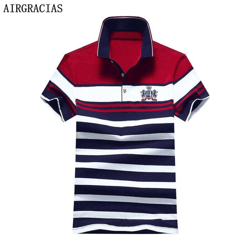 Airgracias 2019 Neue Mode Sommer Herren Polo Shirt Casual Gestreiften Polo-shirt Männer Baumwolle Shirt Für Männliche Größe M-4xl